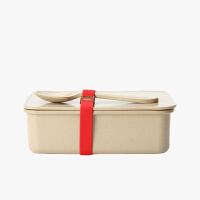 当当优品 壳氏唯稻壳环保创意保鲜盒 可微波炉加热饭盒 长方形便当盒带勺