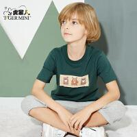 小虎宝儿童装男童套装5-7周岁2018新款春装韩版潮衣2件套短袖T恤