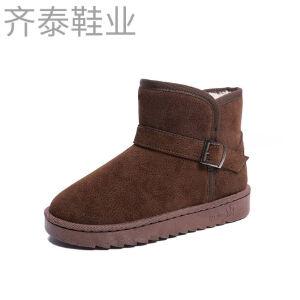 WARORWAR新品YM152-1682冬季欧美磨砂反绒平底舒适女士雪地靴