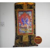 藏传佛教用品高档双层缝制 精品高仿镀金大威德金刚 唐卡(125*67)