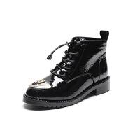 漆皮英伦风马丁靴女韩版百搭学生靴子女粗跟小短靴女冬秋2018新款 黑色