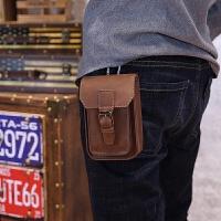新款皮烟包5寸手机包男包韩版潮流男士腰包休闲小包运动皮包个性 棕色