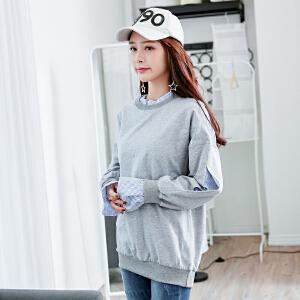 秋冬季韩版新款字母刺绣长袖卫衣女士外套上衣