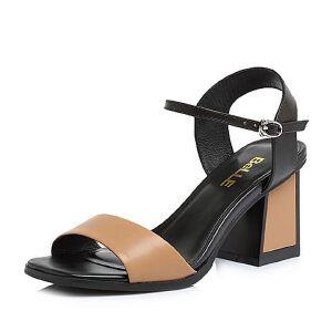 Belle/百丽2018夏新专柜同款胎牛皮革女凉鞋S4C1DBL8