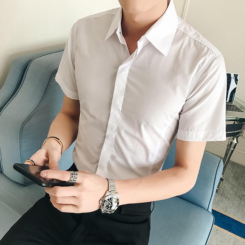 夏季修身衬衣男士韩版时尚衣服寸衫纯色短袖衬衫男装潮26