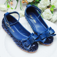 童鞋女童公主鞋魔术贴儿童春季舞蹈鞋大红亮片蝴蝶结婚礼单鞋