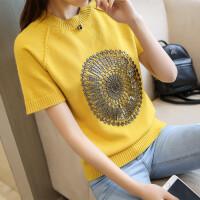 2018春夏韩版新款时尚女装纯色圆领短袖修身打底半袖针织衫