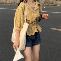 2018春夏新款韩版西装领七分袖衬衣时尚气质荷叶边收腰格子衬衫潮
