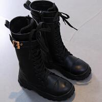 女童靴子秋季2018新款韩版公主儿童中筒靴秋冬高筒靴雪地靴长靴女