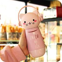 创意卡通保温杯可爱儿童水壶男女学生便携防漏不锈钢茶水杯子 猫-粉色 粉色数量不多了