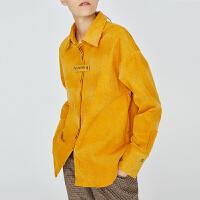 初语灯芯绒衬衣女2018冬装新款polo领字母黄色宽松衬衫港味外套