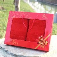 2条装毛巾礼盒套装婚庆纯棉结婚回礼品大红色毛巾过寿宴生日全棉 蝴蝶结红2条(大红礼盒) 74x34cm