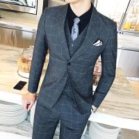 施衣品西装男2017秋冬新款西服外套男士英伦单排格子西装可配套装XZ115