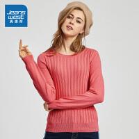 [每满400减150]真维斯女装 2018秋装新款 圆领净色长袖毛针织衫