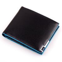 男士钱包薄短款休闲卡包票夹 黑色士钱包长款 钱包男短款 短款蓝色夹边9