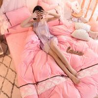 ???公主蕾丝珊瑚绒四件套冬季加厚双面法兰绒被套韩版法莱绒床单1.8m