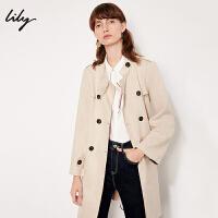 Lily春新款女装帅气通勤系带双排扣中长款风衣118330C1652