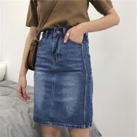 春季新款牛仔半身裙宽松显瘦字裙牛仔半身裙前开叉包臀裙子女潮