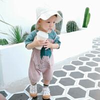 沃康婴儿夏季纯棉衣服0一3岁男宝宝套装新生儿外出薄款透气两件套
