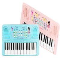 ?多功能电子琴儿童玩具37键女孩初学入门钢琴3-6岁宝宝益智玩具? 蓝色【充电电源版】 彩盒装