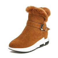 冬季雪地靴女2018新款短筒短靴加绒加厚厚底内增高休闲真皮棉鞋女SN7488 焦糖色 加绒内里