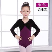 儿童舞蹈服春秋季练功服民族女童芭蕾舞服长袖演出服金丝绒连体服