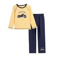 小猪班纳童装儿童家居服2018秋冬男孩T恤长裤套装男童睡衣两件套