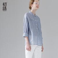 初语夏季新品细条纹衬衣立领宽松七分袖衬衫女纯棉修身上衣#