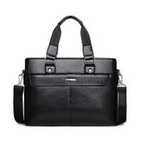 男包手提包休闲单肩包商务公文包潮流斜挎包横款韩版s6 横款黑色