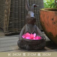 家居客厅装饰品摆件园林花园小品复古卡通兔子花盆雕塑树脂工艺品