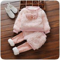 喜言熊 幼童女宝宝冬装0到1至2岁3女童套装女宝加绒加厚