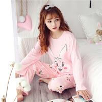 秋季新款睡衣女士卡通兔八哥家居服套装韩版莫代尔小清新两件套春