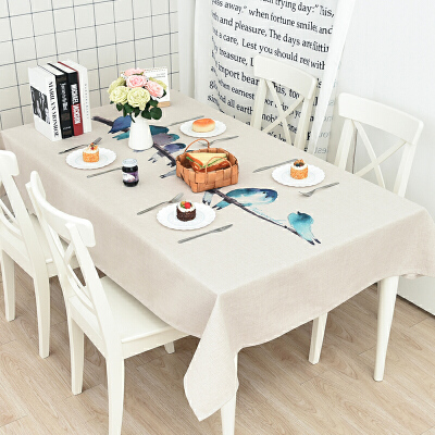 加厚棉麻餐桌布艺北欧茶几桌布长方形台布圆桌桌布方桌布可定制 水彩鸟  加厚棉麻餐桌布艺