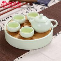 白领公社 茶壶套装 陶瓷茶壶带4茶杯套装送亲人朋友节日礼物翘把壶4杯子套装绿亚光茶壶