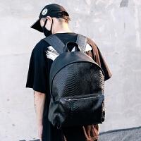 韩版潮流蛇纹时尚潮流旅行包双肩包男大学生书包大容量休闲PU背包