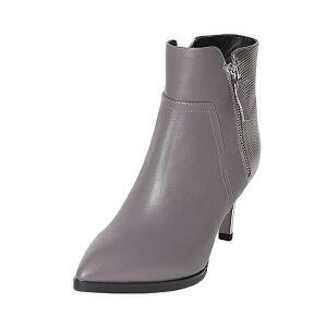 Tata/他她冬牛皮时尚拉链尖头鞋粗高跟女短靴FF242DD6