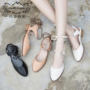 玛菲玛图新款凉鞋女方跟交叉绑带包头凉鞋女学生百搭简约女士休闲凉鞋M1981201812T3