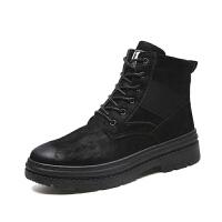 复古马丁靴男加绒保暖男靴子冬季棉靴加棉短靴潮靴高帮休闲男鞋潮