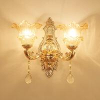 欧式水晶壁灯玉石壁灯客厅卧室电视背景墙壁灯锌合金床头壁灯 深紫色 6016-2送LED灯泡