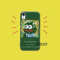 趣味卡通绿色青蛙iPhone8plus/7手机壳苹果x/xsmax光面软xr创意6s