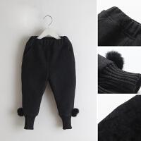 女童裤2017冬装新款儿童毛球加绒收脚裤宝宝加厚毛呢靴裤