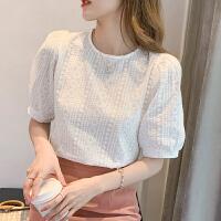 涵姿语复古镂空刺绣蕾丝衫女短袖2021夏季新款女装泡泡袖上衣服漂亮小衫