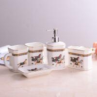 陶瓷卫浴五件套欧式漱口杯新婚套装洗漱浴室用品5件托盘