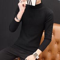 毛衣男秋冬季打底衫青年韩版修身纯色套头半高领毛衣针织衫羊毛衫 黑色 02黑色