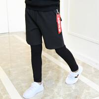 男童跑男裤春秋装儿童长裤打底裤假两件套装韩版男孩街舞运动裤潮
