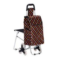 手拉车小推车老年铝合金 带椅子爬楼购物车买菜车可折叠便携