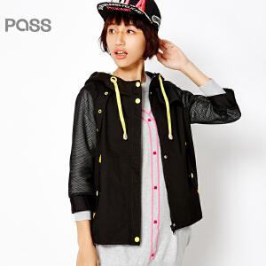 PASS女装春装新款 个性网纱拼接七分袖拉链学生潮流短外套6611422026
