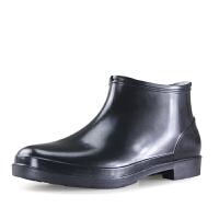 男大码中筒春夏短筒低帮低筒防水鞋防滑雨鞋套鞋雨鞋透气水靴 黑色 (偏大1码)