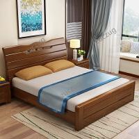 zuczug新中式全实木床1.8米现代简约橡木双人床 1.5m高箱储物床卧室家具 +2床头柜+床垫