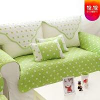 双面纯棉薄沙发座垫果绿色沙发垫套罩巾四季通用布艺全棉清新绿简约双面纯棉田园坐垫